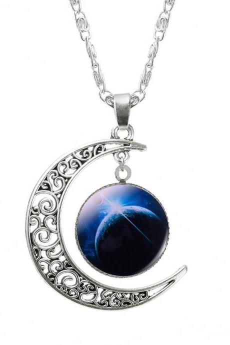 Pendant Moon Space Teen Colorful Love you to the Moon and Back Necklace
