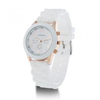 Rubber strap casual quartz woman watch