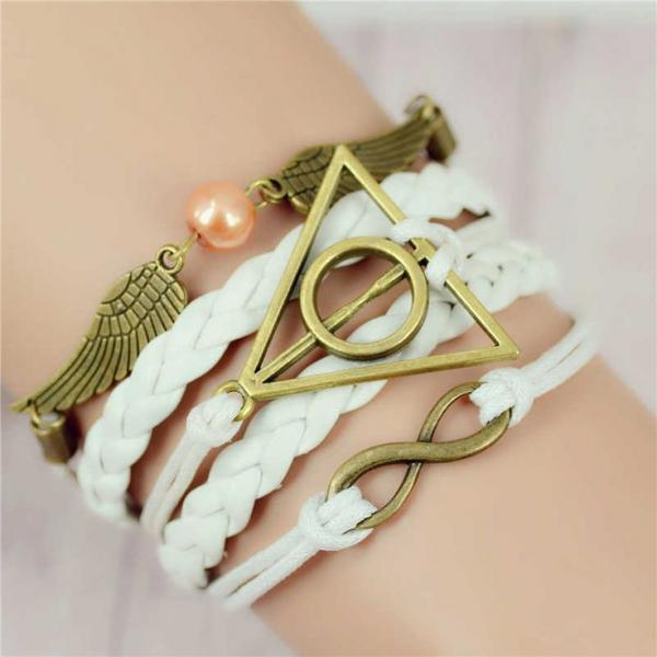 White rope alloy pendant wings girl bracelet
