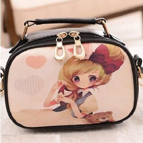 Teddy bear pattern Pu leather girl handbag