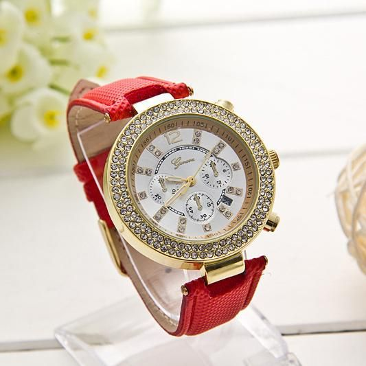 Rhinestones quality red strap leather unisex watch