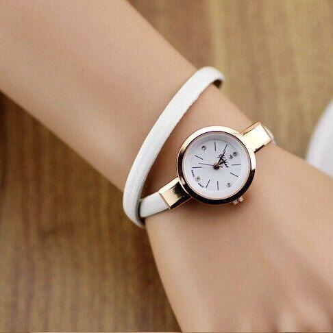 Wrap evening thin white leather band woman watch