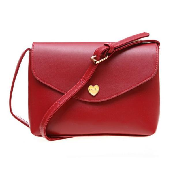 Envelope handbag heart button handbag red handbag woman handbag