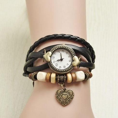 Wrap love heart pendant teenage casual black girl watch