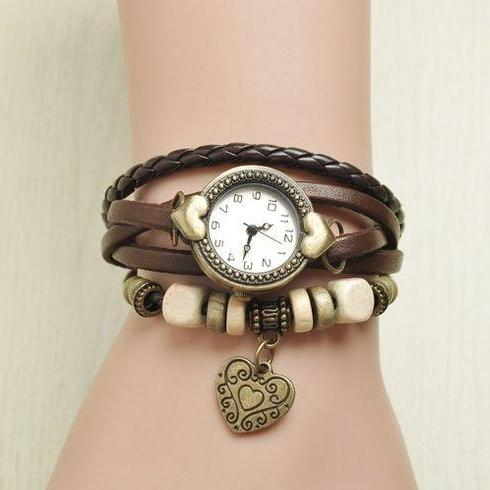 Wrap love heart pendant teenage brown casual girl watch