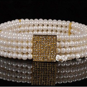 White Imitation Pearls and rhinestones buckle woman belt