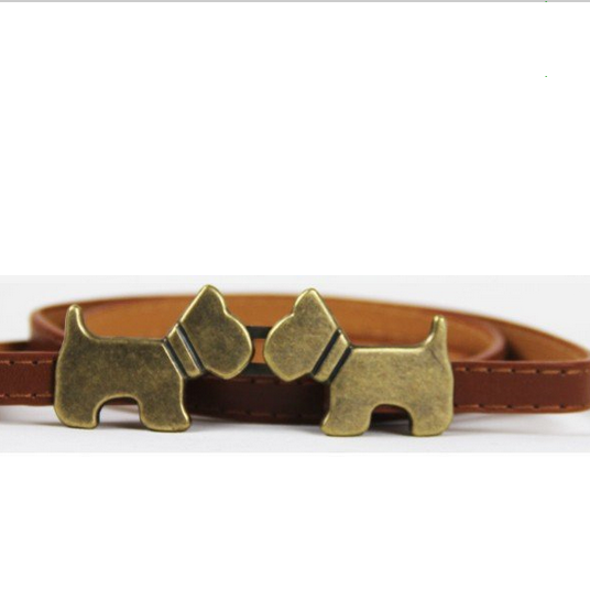 Puppy buckle leather brown woman belt