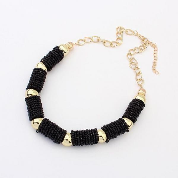 Statement beads fashion woman black jewelry necklace