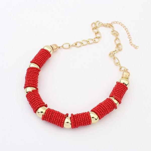 Statement beads fashion red woman jewelry necklace
