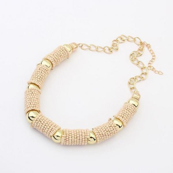 Statement beige beads fashion woman jewelry necklace