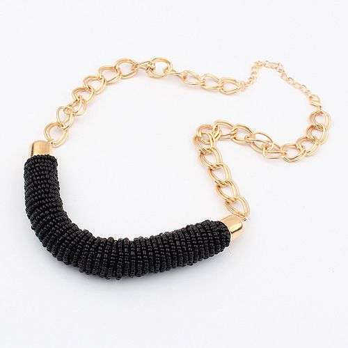 Valentine gift for her black beads fashion dress woman necklace