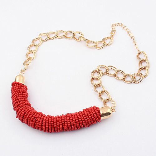 Gold Chain Red Beaded Statement Necklace
