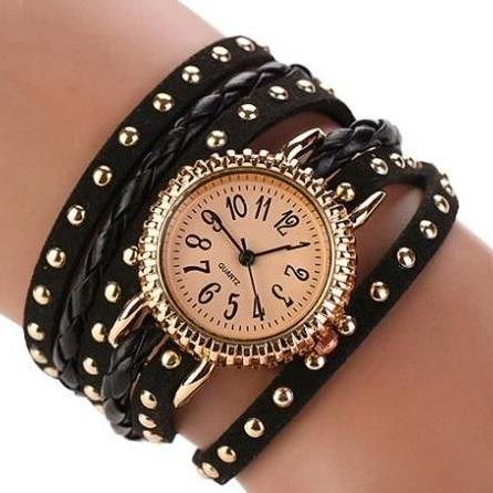 Wrap rivet black Pu leather band casual fancy teen unisex watch
