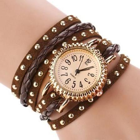 Wrap rivet brown Pu leather band casual fancy teen unisex watch