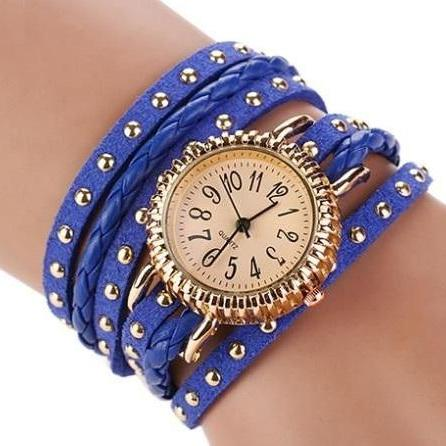 Wrap rivet blue Pu leather band casual fancy teen unisex watch