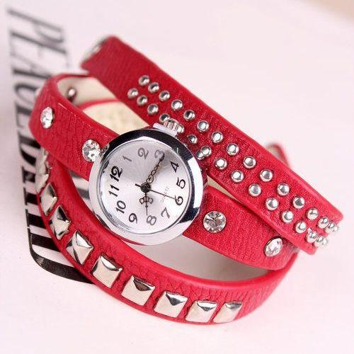 Leather red Rhinestone Woman Watch
