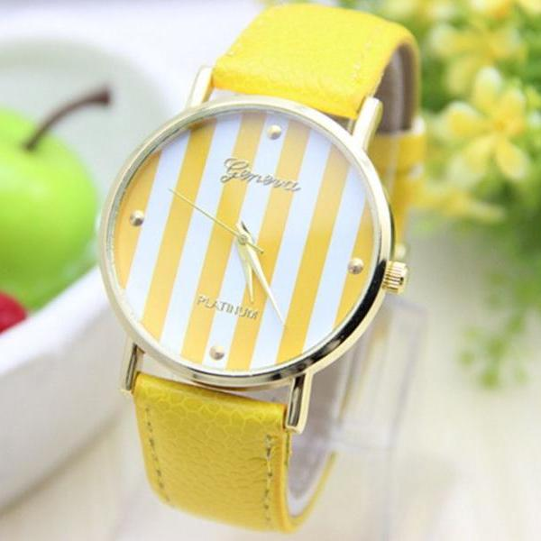 Stripes yellow Dial Party Woman Watch