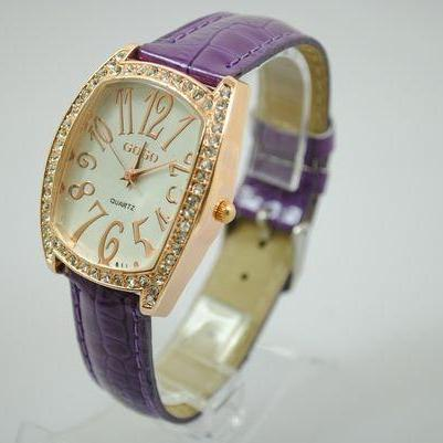Rectangle Rhinestones purple Leather Strap Woman Watch