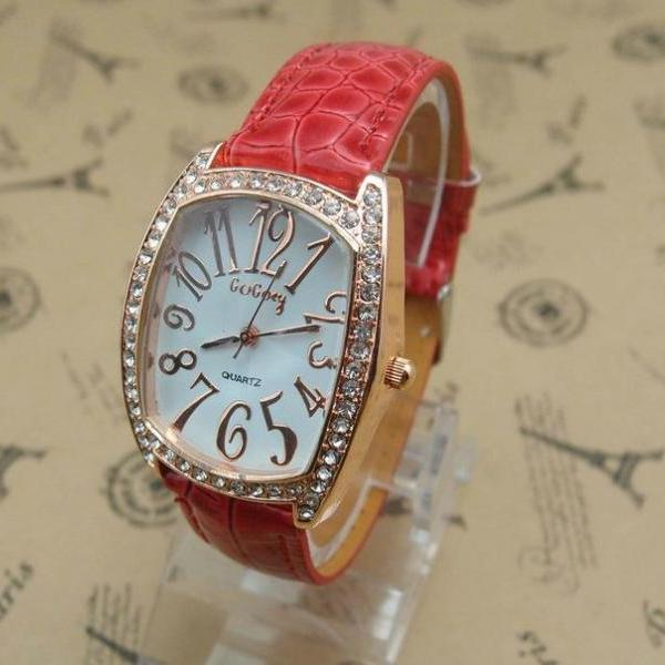 Rectangle Rhinestones red Leather Strap Woman Watch