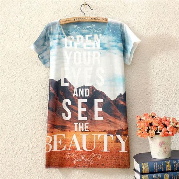 Open your eyes print travel girl top shirt