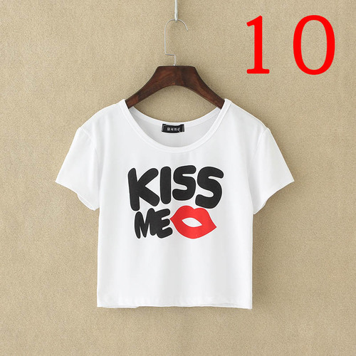 Kiss me Lips Love Friends white Party Crop Top Summer girl tee