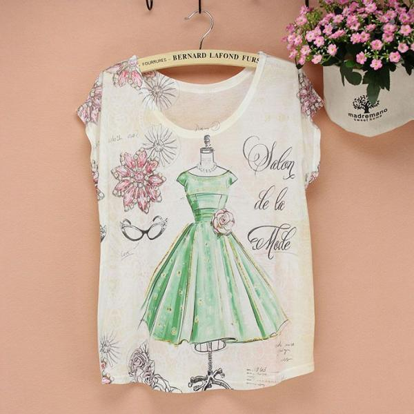 Prom dress print Short Sleeves Summer Top Girl Tee