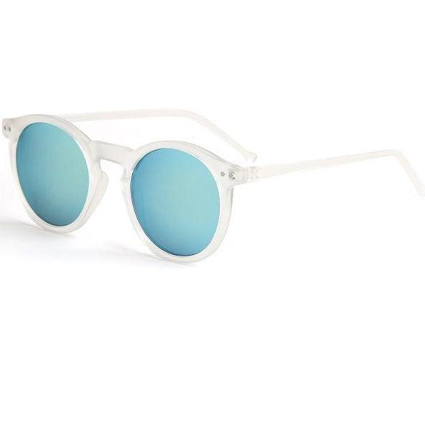 Round blue lens summer transparent frame girl sunglasses
