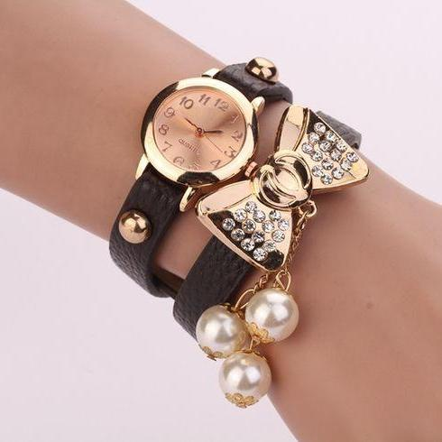Bow Knot Dress Dark Black Rhinestones Woman Watch