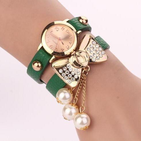 Bow Knot Dress Fashion Green Rhinestones Woman Watch