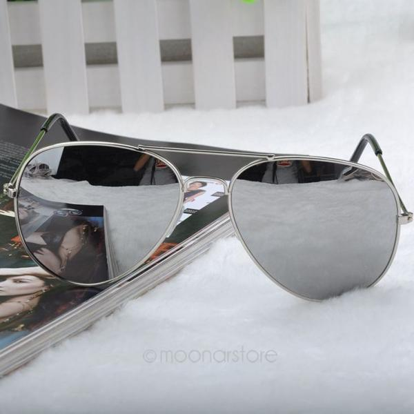 Summer pilot fashion elegant silver woman sunglasses