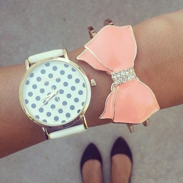 Black dots teen girl fashion party watch