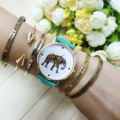 Elephant colorful face green band unisex watch