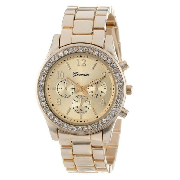 Classic stainless steel gold rhinestones woman watch