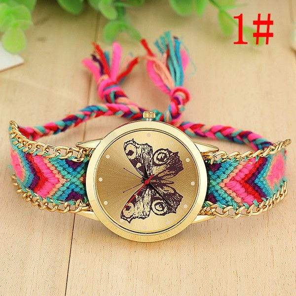 Colorful friendship band butterfly girl watch