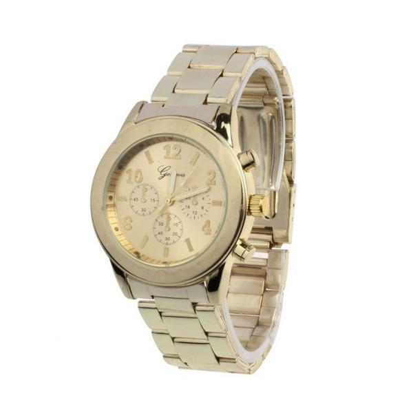 Stainless steel fashion dress gold woman watch