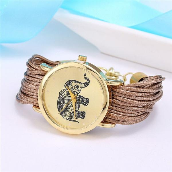 Dress bracelet elephant logo fashion brown watch
