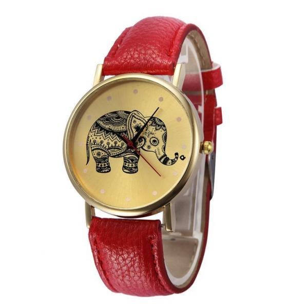Pu leather band fashion teen unisex red watch