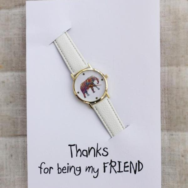 Elephant White Thanks for being my friend  Card Watch