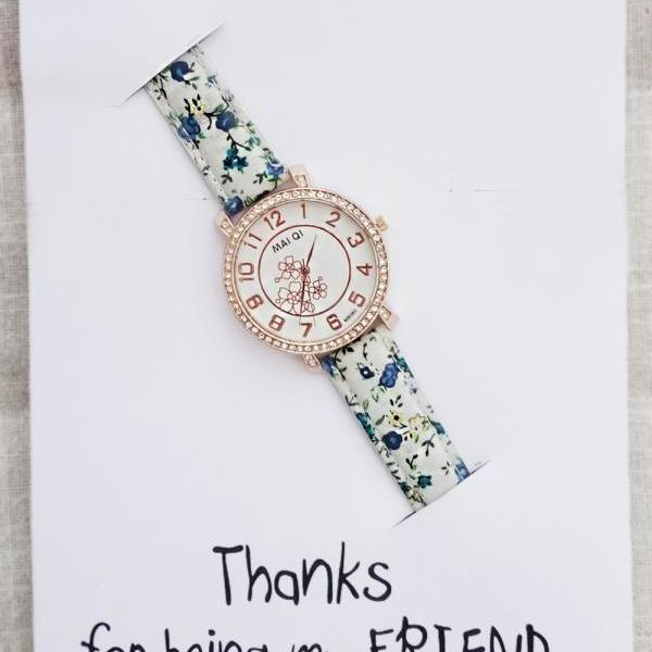Elegant Dress Blue Flowers Band Gift Card Family Bond Note Woman Fashion Watch