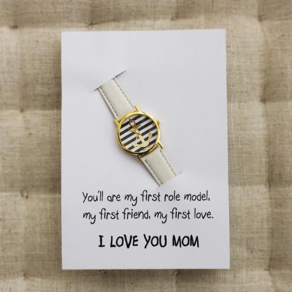 Anchor Fashion Luck White I Love You Mom GIft Card Watch