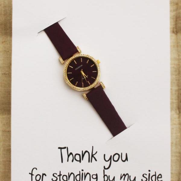 Floral Band Fashion Teen Thank You For Standing By My Side GIft Card Watch