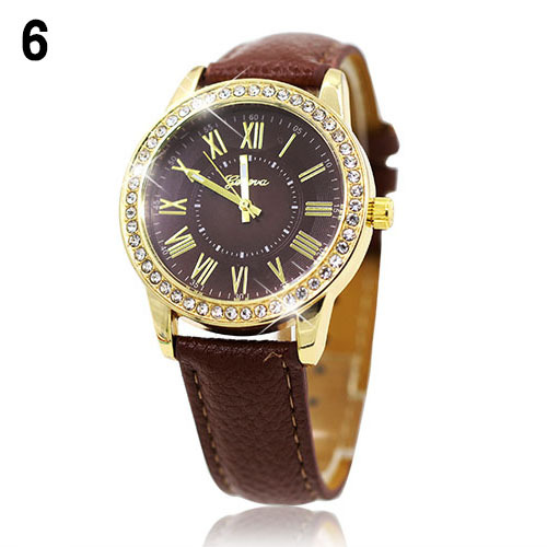 Luxury fashion rhinestones crystals PU leather brown band watch