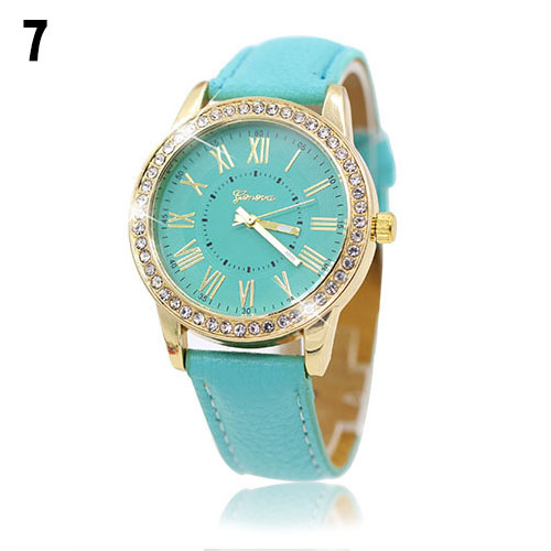 Luxury fashion rhinestones crystals PU leather green band watch