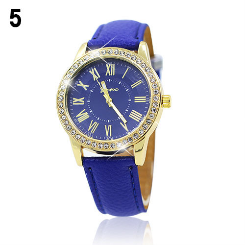 Luxury fashion rhinestones crystals PU leather blue band watch