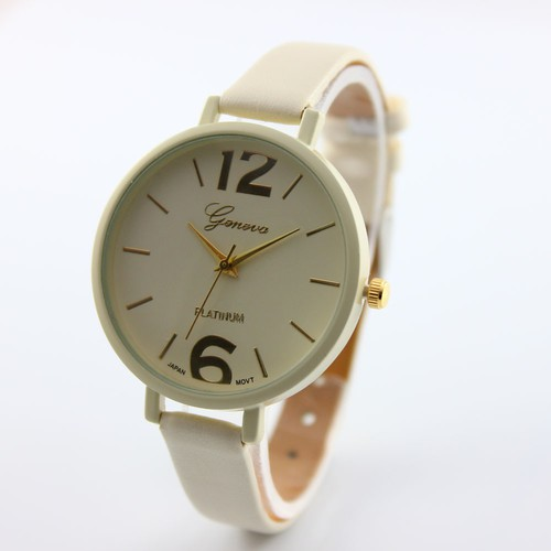 Beige Thin black Band Fashion teen Girl school summer woman watch