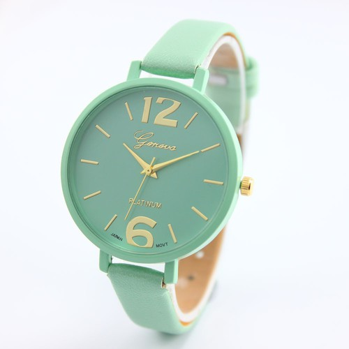 Green Thin black Band Fashion teen Girl school summer woman watch