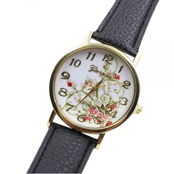 WristWatches Floral Fashion Case Quartz Women Casual Black PU Leather Band Watch
