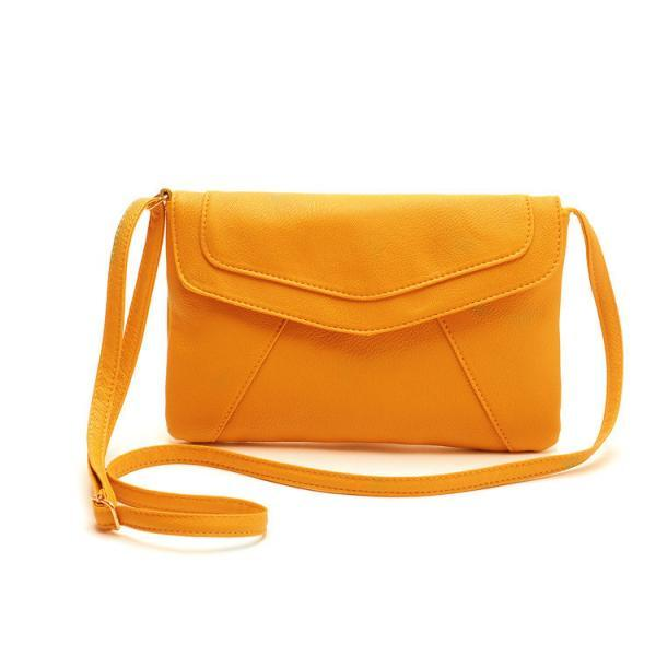 Messenger Shoulder Golden Leather Strap Fashion Crossbody Messanger Clutch PU Leather Yellow Woman Bag Handbag