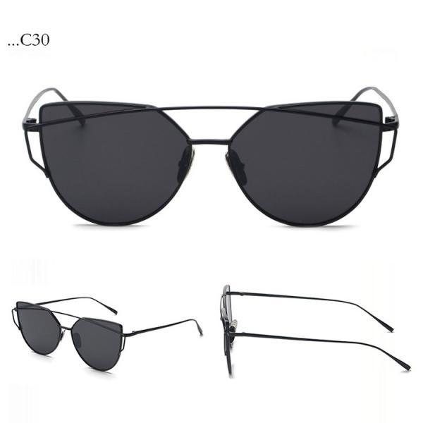 Fashion Black Lenses Cat Eye Black Frame Sunglasses Women Sunglasses Double-Deck Alloy Frame Sunglasses