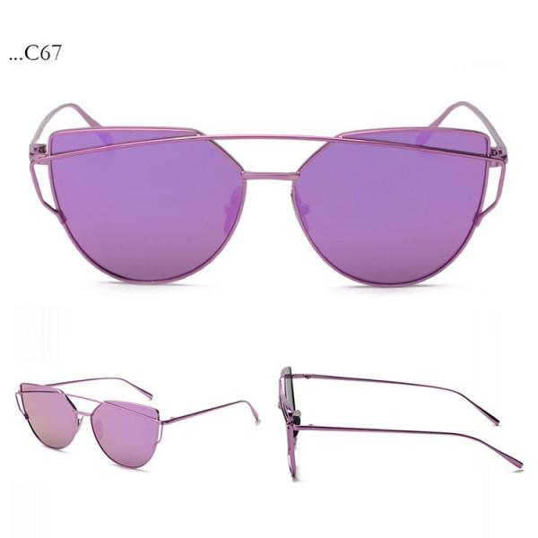 Fashion Purple Lenses Cat Eye Sunglasses Women Sunglasses Double-Deck Alloy Frame Sunglasses